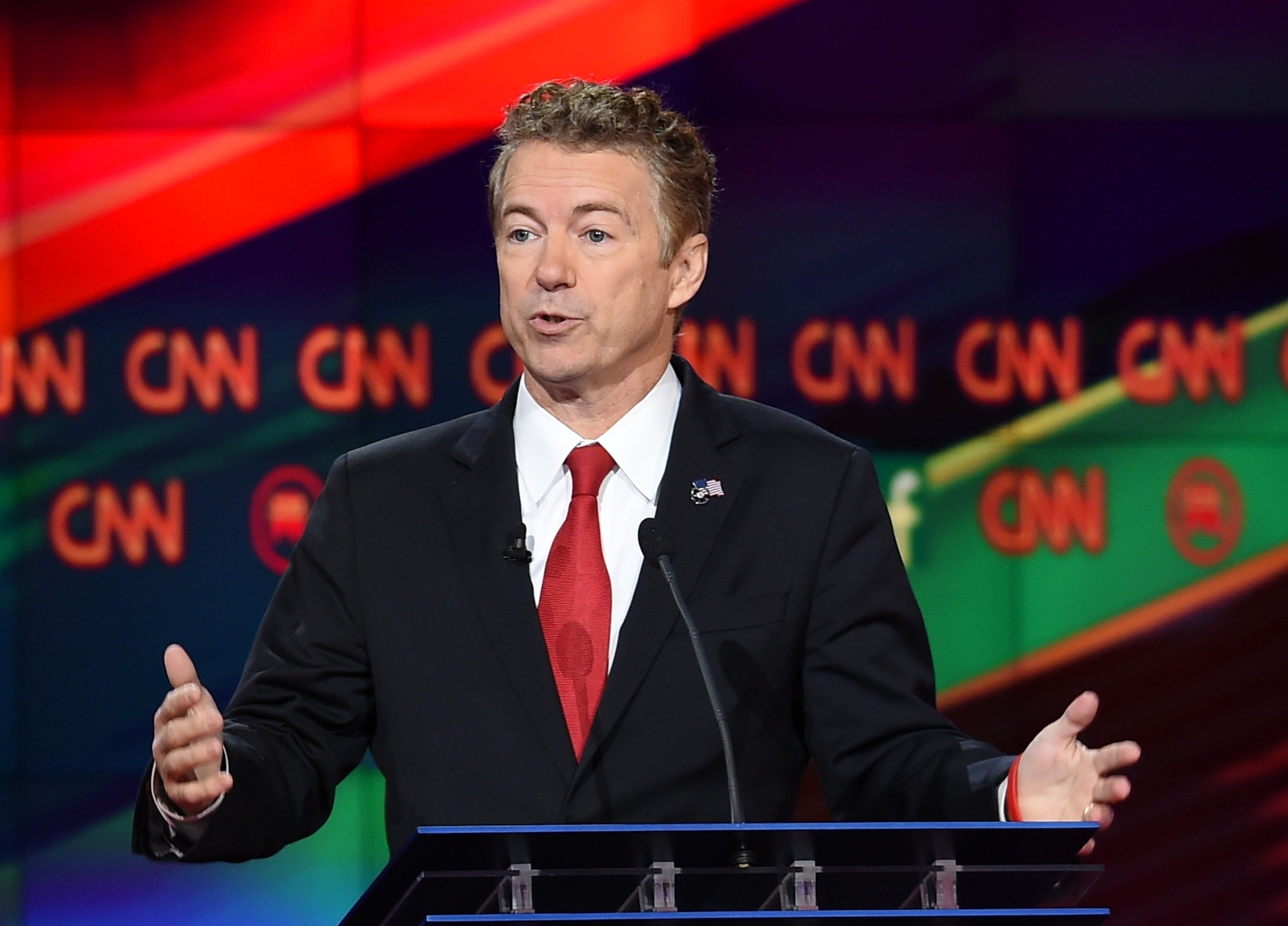 Republican presidential candidate Kentucky Sen. Rand Paul gestures during in the Republican Presidential Debate, hosted by CNN, at The Venetian Las Vegas on December 15, 2015 in Las Vegas, Nevada. AFP PHOTO/ ROBYN BECK / AFP / ROBYN BECK        (Photo credit should read ROBYN BECK/AFP/Getty Images)