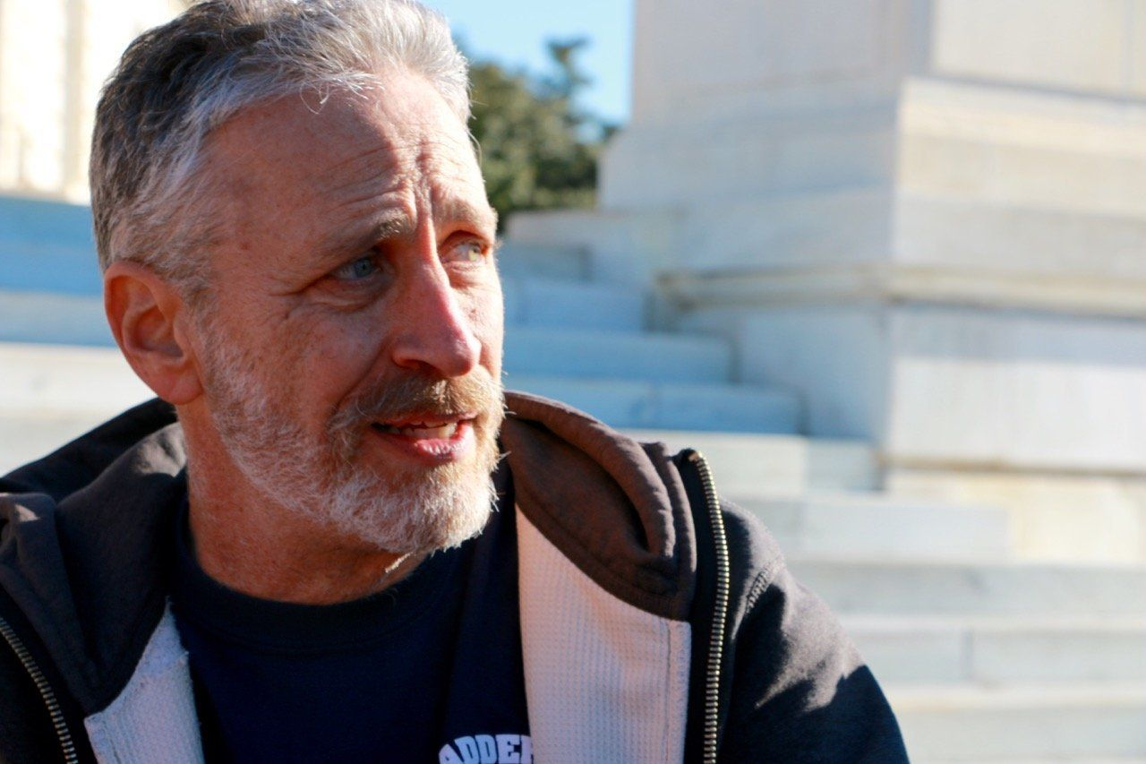 Jon Stewart traveled to Washington for the second time to lobby for the 9/11 bill in December, seen here outside the Russell Senate Office Building.