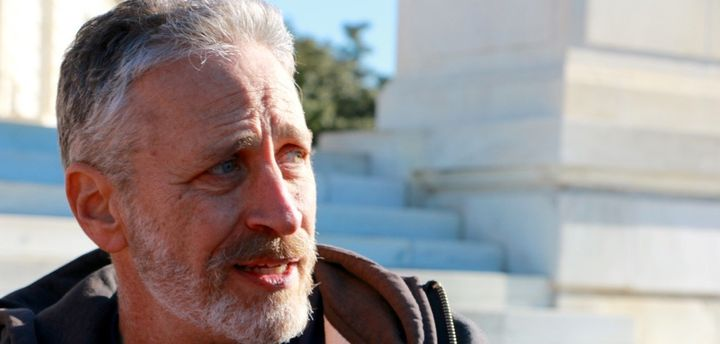 Jon Stewart traveled to Washington for the second time to lobby for the 9/11 bill in December, seen here outside the Russell
