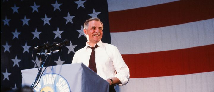 Walter Mondale campaigning for the presidency in 1984.