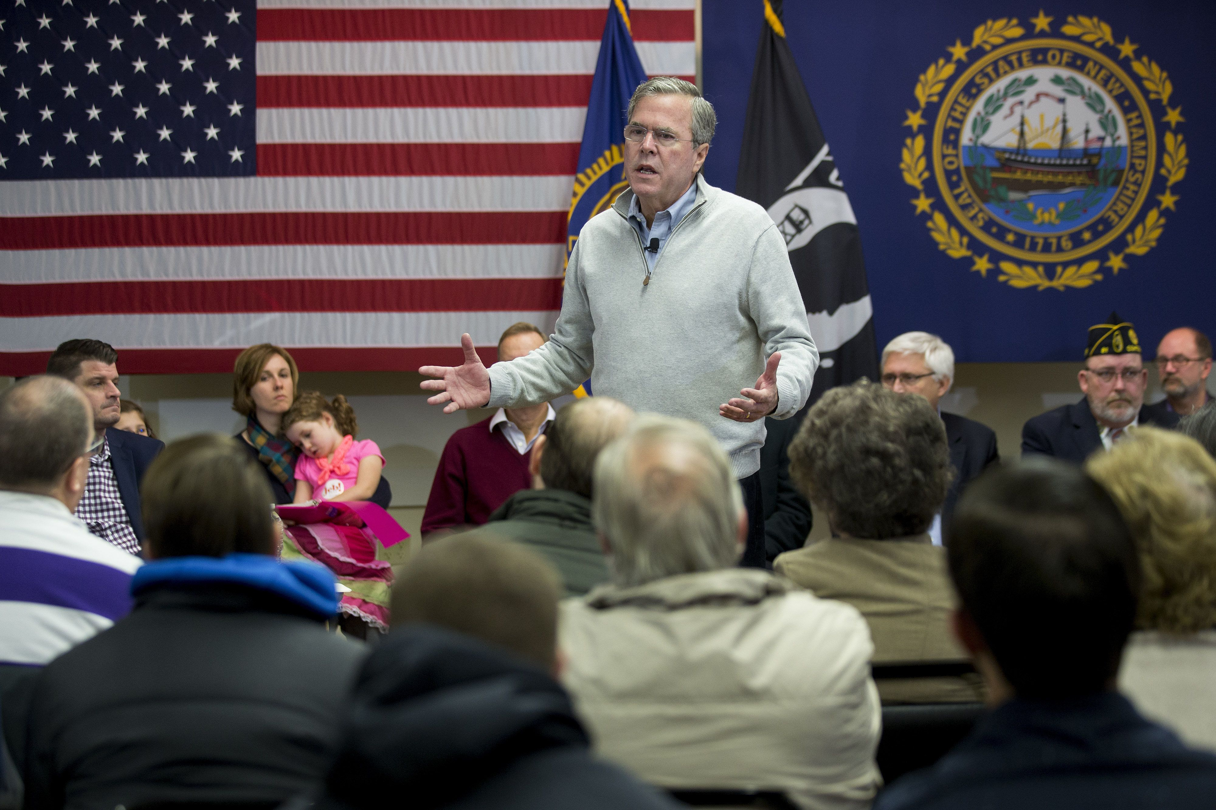 Jeb Bush, former governor of Florida and 2016 Republican presidential candidate, speaks during a town hall campaign stop at the E. Roger Montgomery American Legion Post 81 in Contoocook, New Hampshire, U.S. on Saturday, Dec. 19, 2015. At Tuesday's presidential debate this week Bush lobbed six full-frontal assaults on front-runner Donald Trump, who he at one point dubbed Trump a 'chaos candidate.' Photographer: Andrew Harrer/Bloomberg via Getty Images