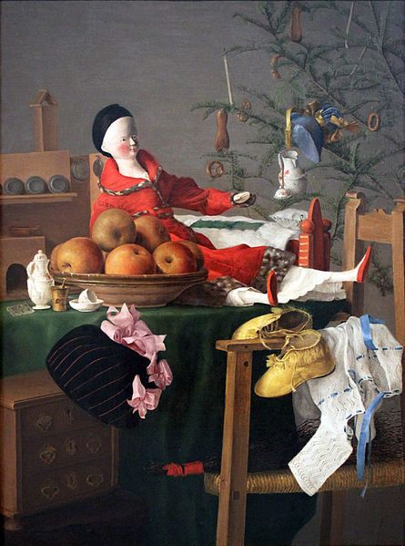 """Unknown artist, """"Christmassy table of gifts for a girl,"""" 1840 (<a href=""""https://commons.wikimedia.org/wiki/File:1840_Weihnach"""