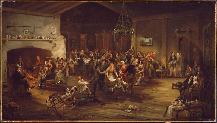 """Robert David Wilkie, """"The Christmas Party, 1850 (<a href=""""https://commons.wikimedia.org/wiki/File:ChristmasParty_ca1850_Attri"""