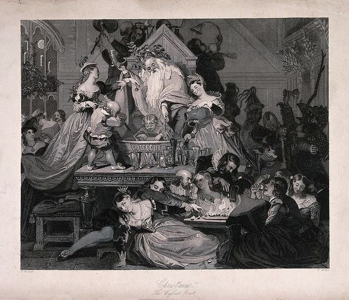 """T. Hollis,&nbsp;""""Christmas - The Wassail Bowl"""" (<a href=""""https://commons.wikimedia.org/wiki/File:Christmas_celebrated_by_peop"""