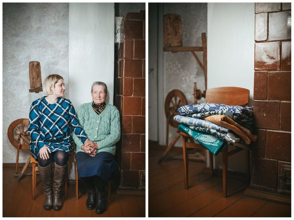 Performer Dovile Filmanaviciute and her grandma Stanislava. The gift: fabrics woven by her grandma.