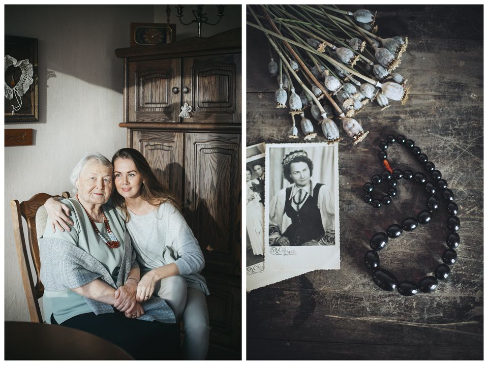 Graphic designer Goda Jackute and her grandma Elena. The gift: A black amber necklace which was worn by grandma on her weddin