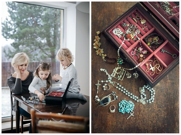 TV announcer Laima Kybartiene with her two twin granddaughters Kotryna and Auguste. The gift: a jewelry box.