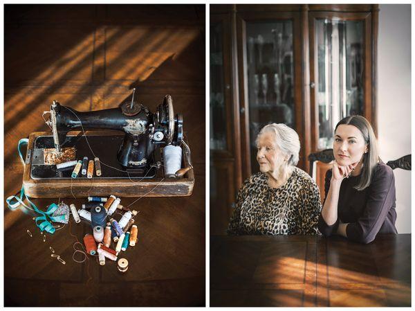 Jeweler Giedre Duoble and her grandma Regina. The gift: a Singer sewing machine.