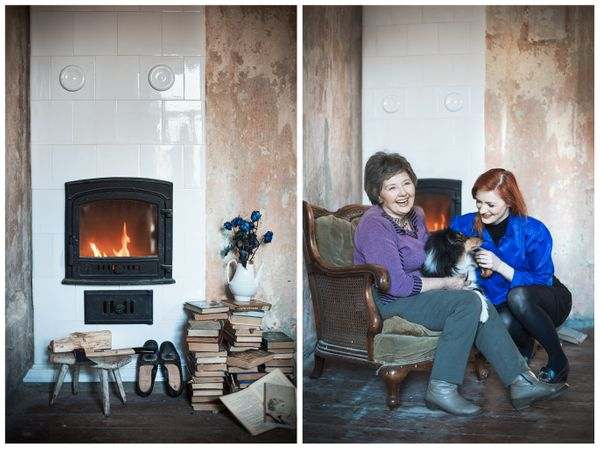 Actress Aiste Lasyte and her grandma Ona Ceslava. The gift: a fireplace.
