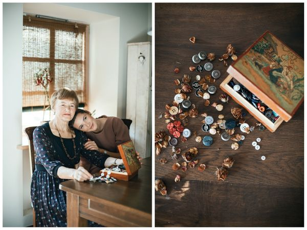 Designer Milda Cergelyte and her grandma Vida. The gift: a box of buttons.