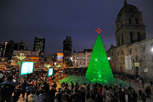 People enjoy the eco-friendly Christmas tree set-up at the Basilica of San Francisco in La Paz on December 18, 2013.