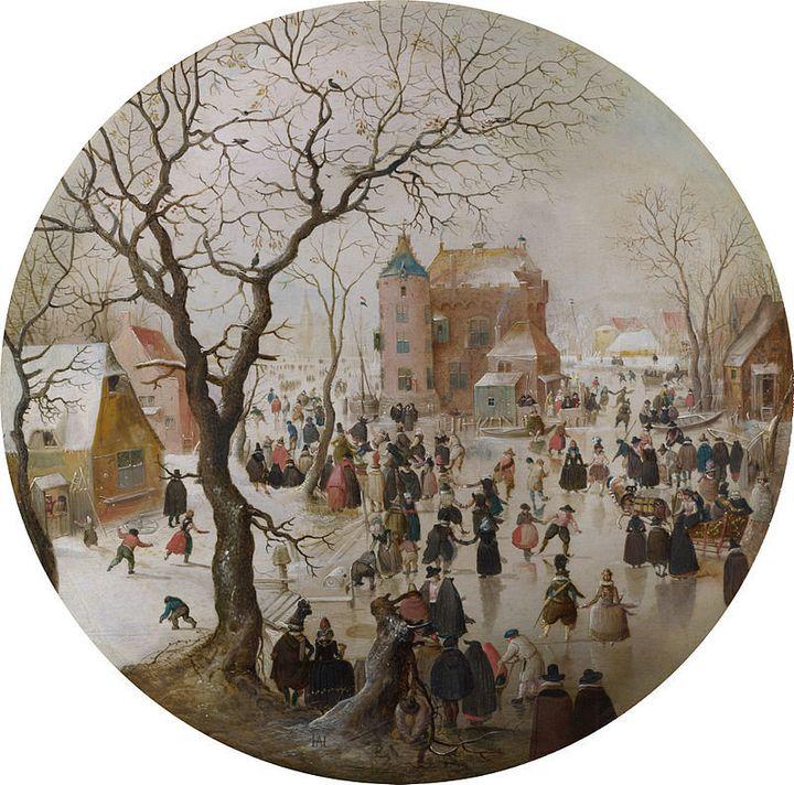 """Hendrick Avercamp, """"A Winter Scene with Skaters near a Castle,"""" 1608 (<a href=""""https://en.wikipedia.org/wiki/A_Winter_Scene_w"""