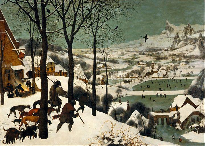 """Pieter Bruegel the Elder, """"Hunters in the Snow,"""" 1565 (<a href=""""https://en.wikipedia.org/wiki/The_Hunters_in_the_Snow"""">Wiki C"""
