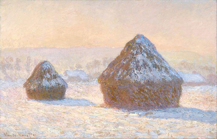 "Claude Monet, ""Wheatstacks, Snow Effect, Morning,"" 1891 (<a href=""https://en.wikipedia.org/wiki/File:Claude_Monet_(French_-_W"