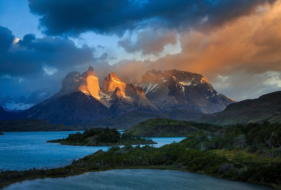 The Cuernos (Horns) del Paine grab the early morning light in Chile's wild Torres del Paine National Park. Once the haunt of