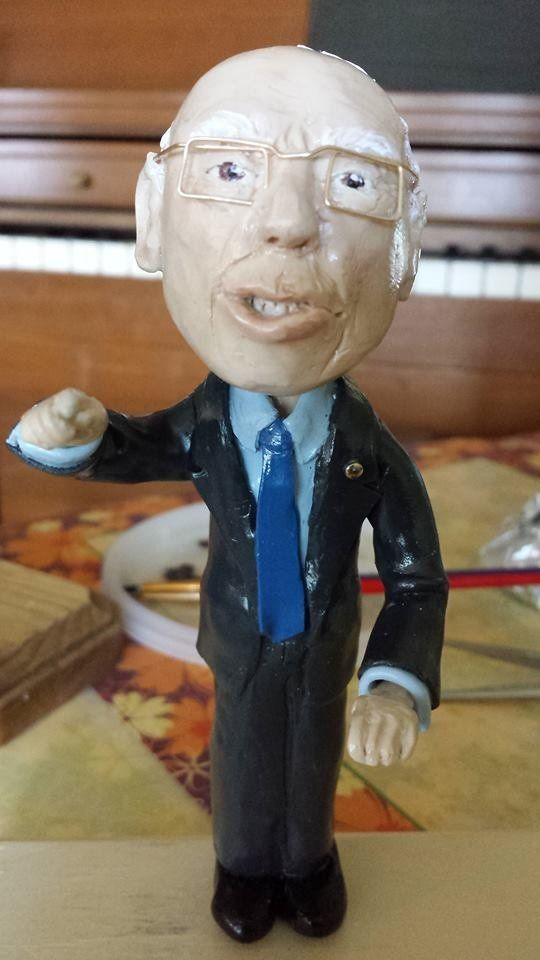 Jeanette Johnson makesBernie Bobble heads and other small scale Sanders sculptures, all resembling the 2016 Democratic