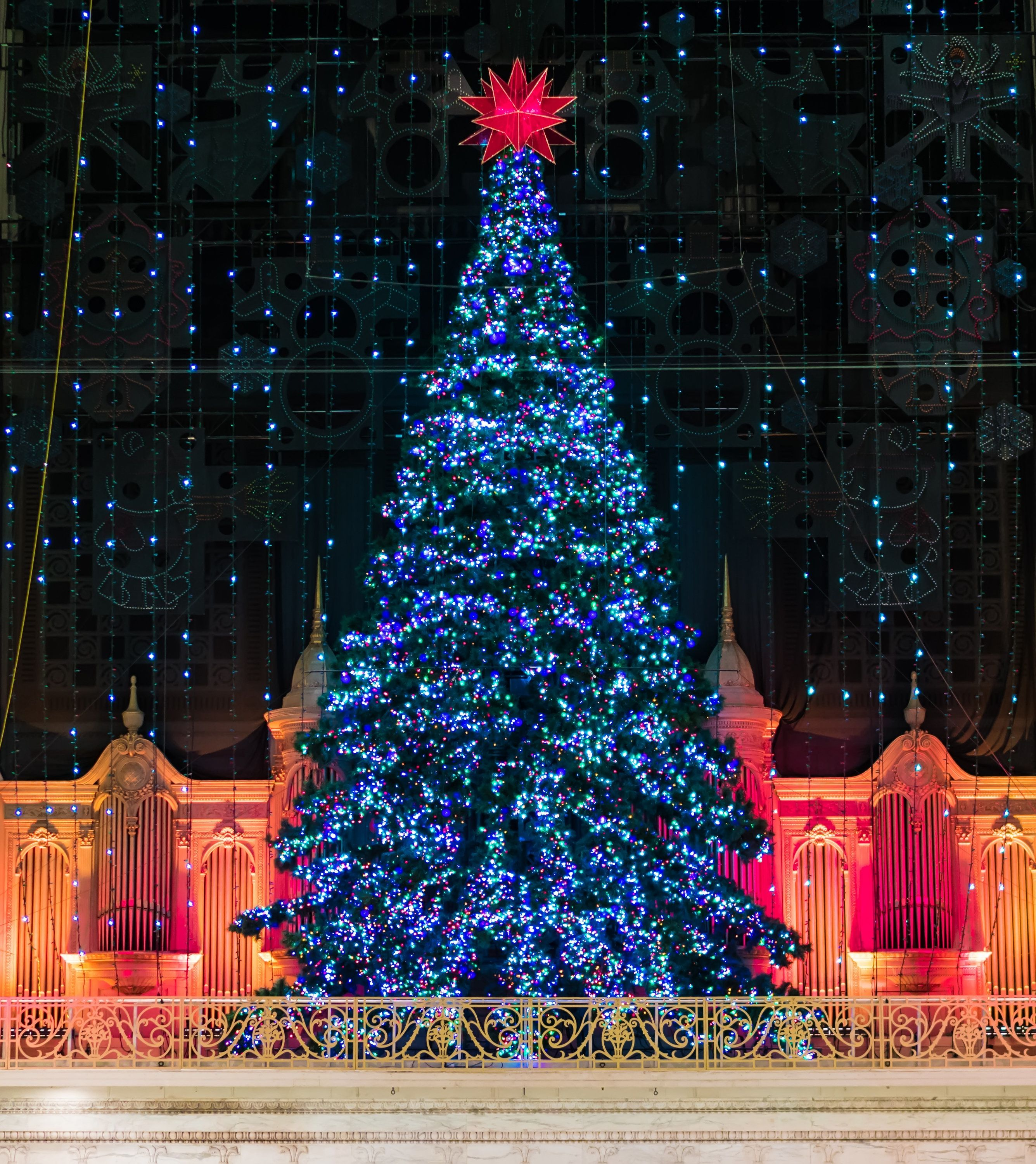 This year's Christmas tree at Macy's Center City in Philadelphia, Pennsylvania. Americans' holiday decorations use 6.6 billio