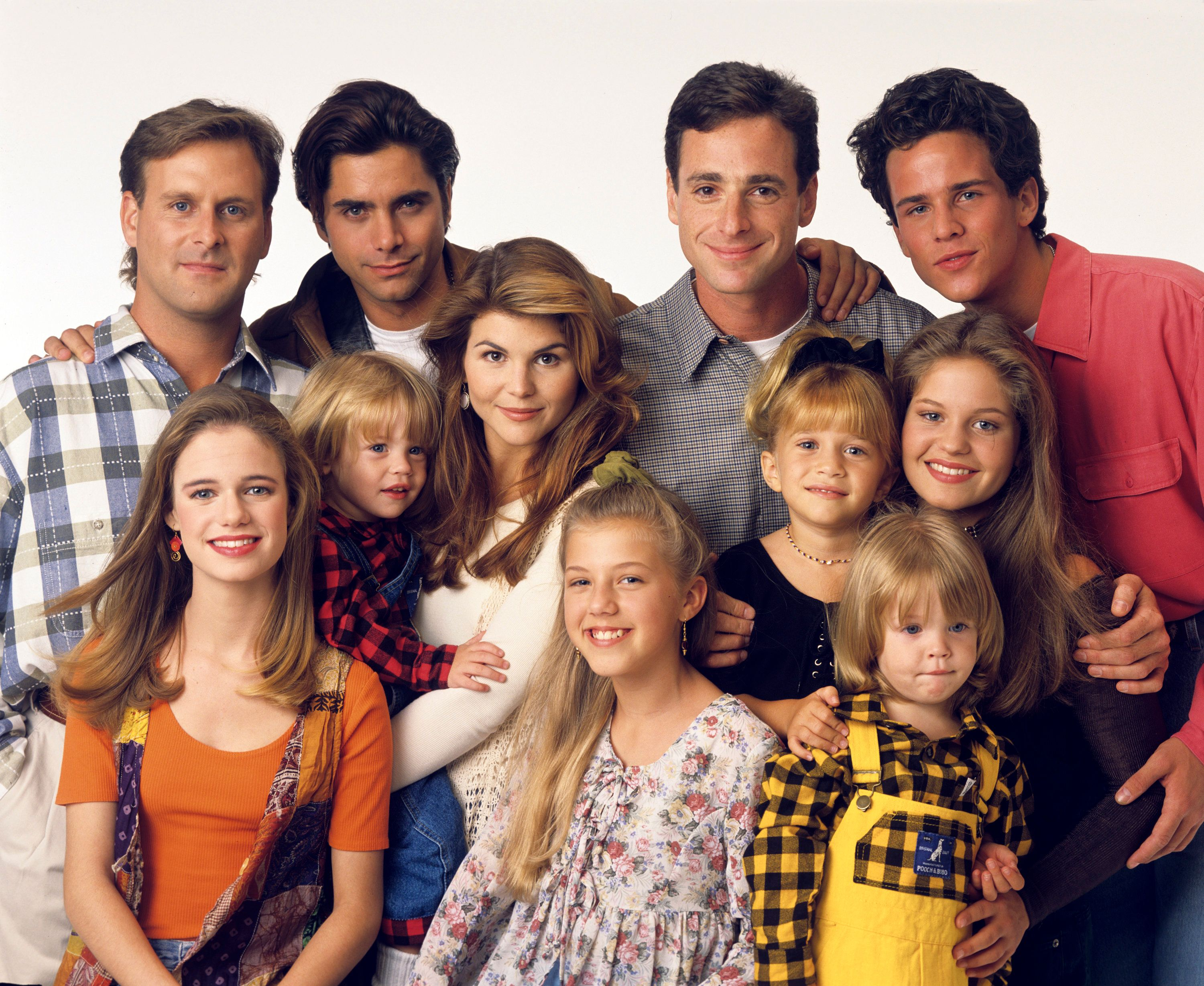 UNITED STATES - SEPTEMBER 14:  FULL HOUSE - Season Seven - Gallery - 9/14/93, Pictured, from left: Dave Coulier (Joey), Andrea Barber (Kimmy), John Stamos (Jesse), Blake Tuomy-Wilhoit (Nicky), Lori Loughlin (Rebecca), Jodie Sweetin (Stephanie), Bob Saget (Danny), Ashley Olsen (Michelle), Dylan Tuomy-Wilhoit (Alex), Candace Cameron (D.J.), Scott Weinger (Steve),  (Photo by Bob D'Amico/ABC via Getty Images)