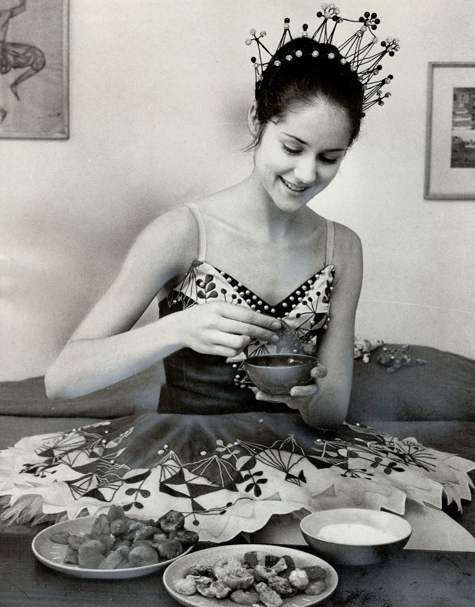 "Nadia Potts, dancer in ""The Nutcracker"" at the O'Keefe Centre, with sugar plums, in 1972."