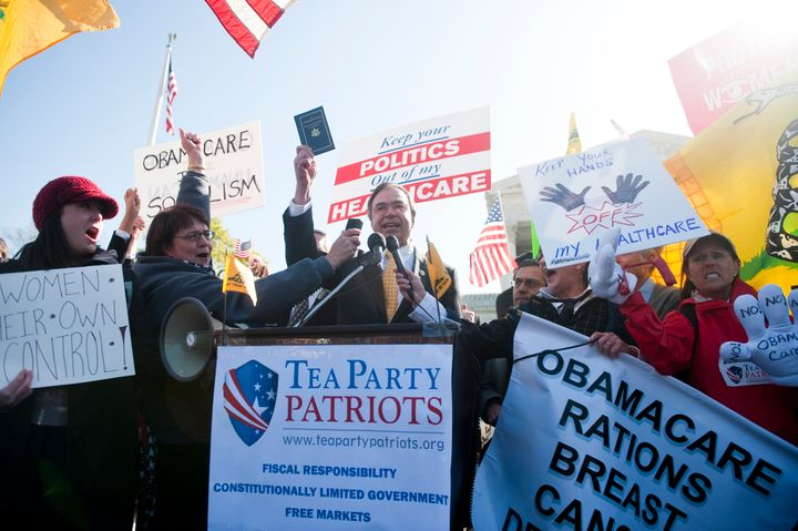 Rep. Andy Harris (R-Md.) speaks during the Tea Party Patriots rally protesting the Affordable Care Act in front of the Suprem
