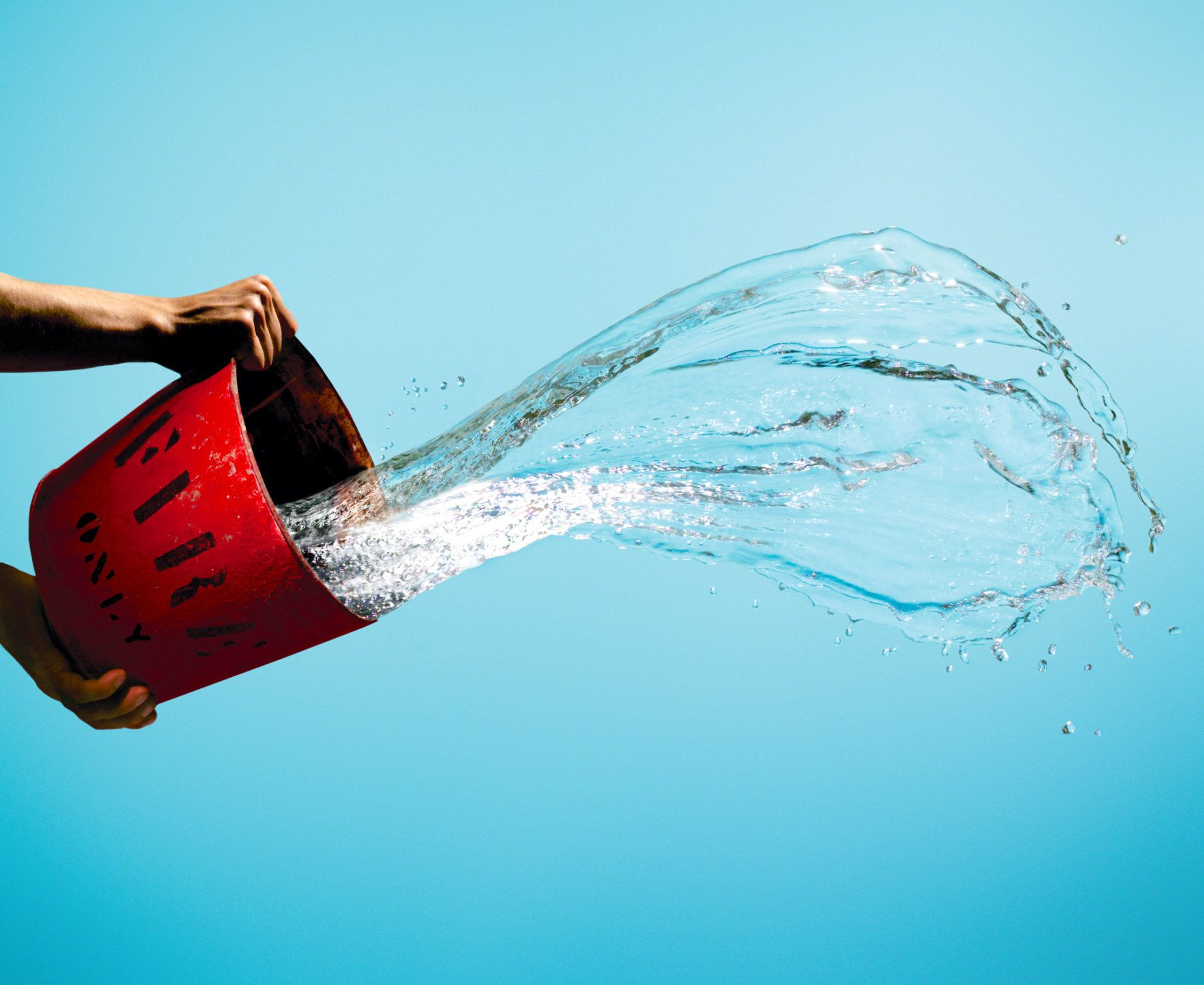 Person throwing bucket of water