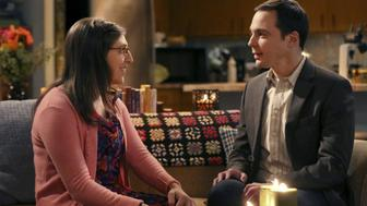 LOS ANGELES - NOVEMBER 16: 'The Opening Night Excitation' -- After more than five years of dating, Sheldon (Jim Parsons, right) and Amy (Mayim Bialik, left) spend their first night together, on THE BIG BANG THEORY, Thursday, Dec.17 (8:00-8:31 PM, ET/PT), on the CBS Television Network. (Photo by Michael Yarish/CBS via Getty Images)