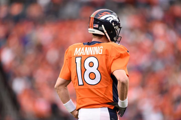Denver Broncos quarterback Peyton Manning during a 2015 NFL game. A new report alleges that Manning and his wife obtained hum