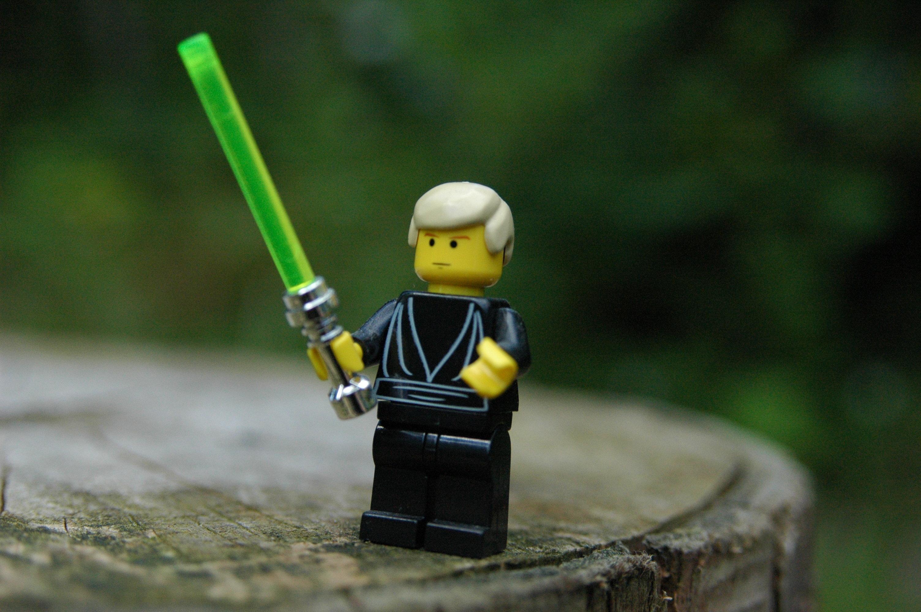 Lego Minifigure - Luke Skywalker from Return of the Jedi. Shot outdoors, natural lighting.