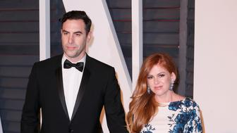 Sacha Baron Cohen and Isla Fisher attend the 2015 Vanity Fair Oscar Party hosted by Graydon Carter at Wallis Annenberg Center for the Performing Arts on February 22, 2015 in Beverly Hills, California.