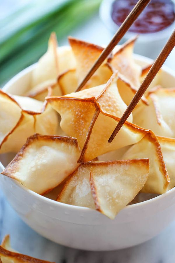 "<strong>Get the <a href=""http://damndelicious.net/2014/09/08/baked-cream-cheese-wontons/"">Baked Cream Cheese Wontons recipe</"