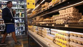 SAN FRANCISCO, CA - JULY 17:  Cartons of eggs are displayed on a shelf at the Marina Supermarket on July 17, 2015 in San Francisco, California. The U.S. Department of Labor reported this week that the price of wholesale chicken eggs has surged nearly 85 percent from May to June, the largest increase since 1937.  (Photo by Justin Sullivan/Getty Images)