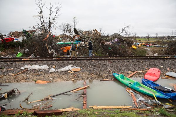 A heavily damaged area is seen Dec. 27, 2015 in the aftermath of a tornado in Rowlett, Texas.