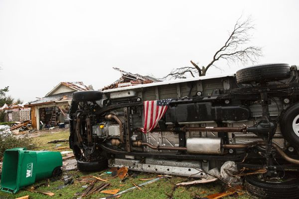 An American flag placed by first responders is seen Dec. 27, 2015, in Rowlett, Texas.