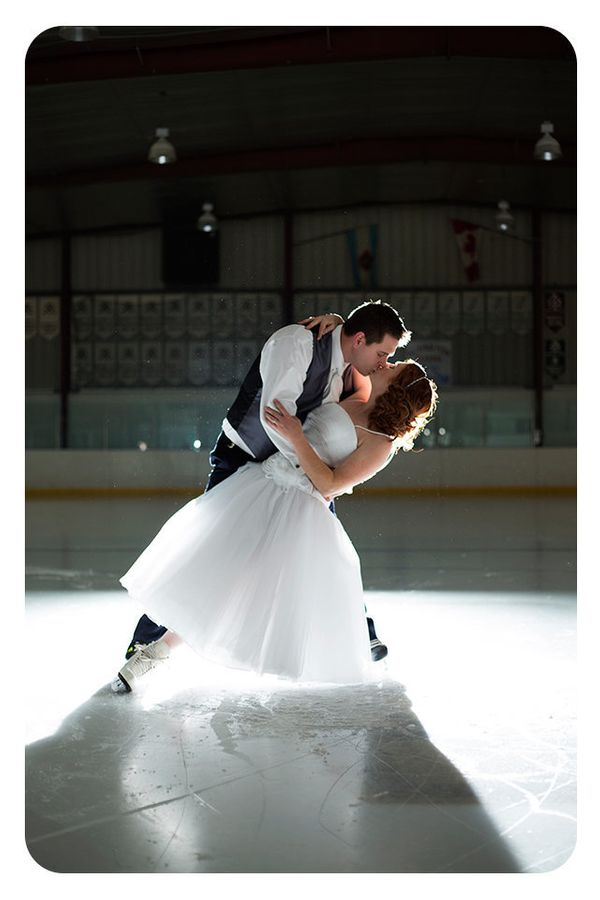 """""""A gorgeous winter wedding this past weekend where the bride was a figure skater and the groom was a hockey player. They deci"""