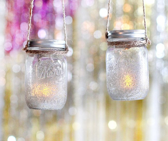 "Learn how to make these mason jar tea light holders on <a href=""http://ispydiy.com/2014/12/29/holiday-diy-new-years-eve-"