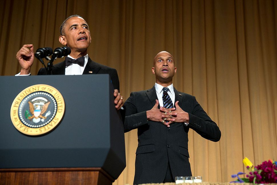 President Barack Obama delivers remarks with the help of comedic actor Keegan-Michael Key during the White House Corresponden