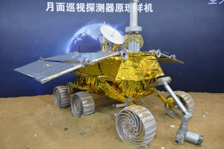 A model of the lunar rover known as The Yutu, or Jade Rabbit.