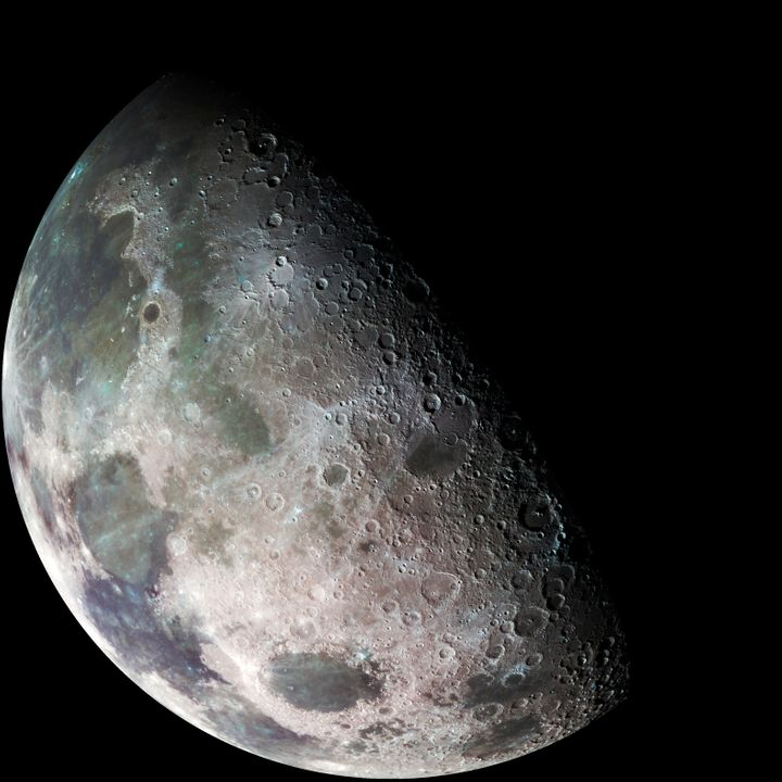 The left part of this picture of the Moon -- taken by the Galileo spacecraft in 1992 -- shows the dark, lava-filled Mare Imbr