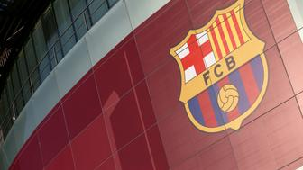 A general view of the club crest of Barcelona outside the Nou Camp