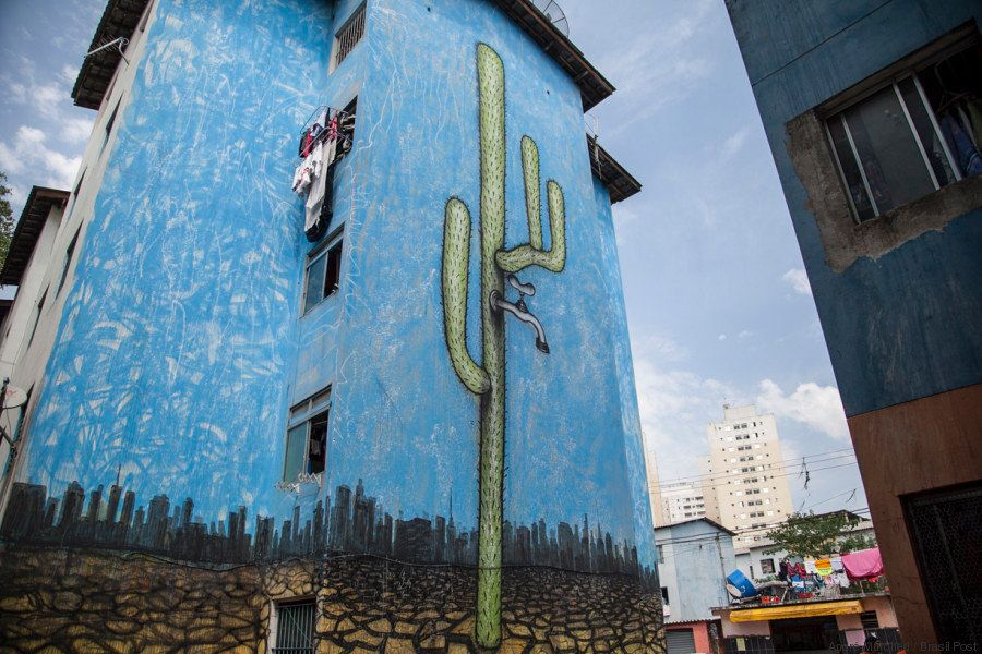 Mundano's mural on the effects of the drought on impoverished communities.