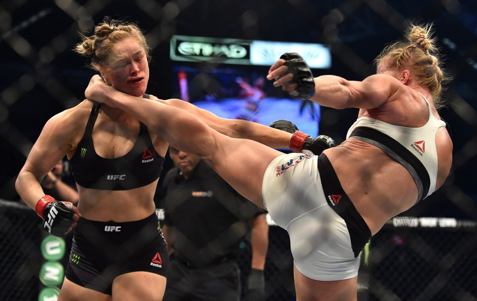 "<a href=""https://www.huffpost.com/topic/holly-holm"">Holly Holm</a> burst&nbsp;onto&nbsp;national&nbsp;sports scene in a big w"