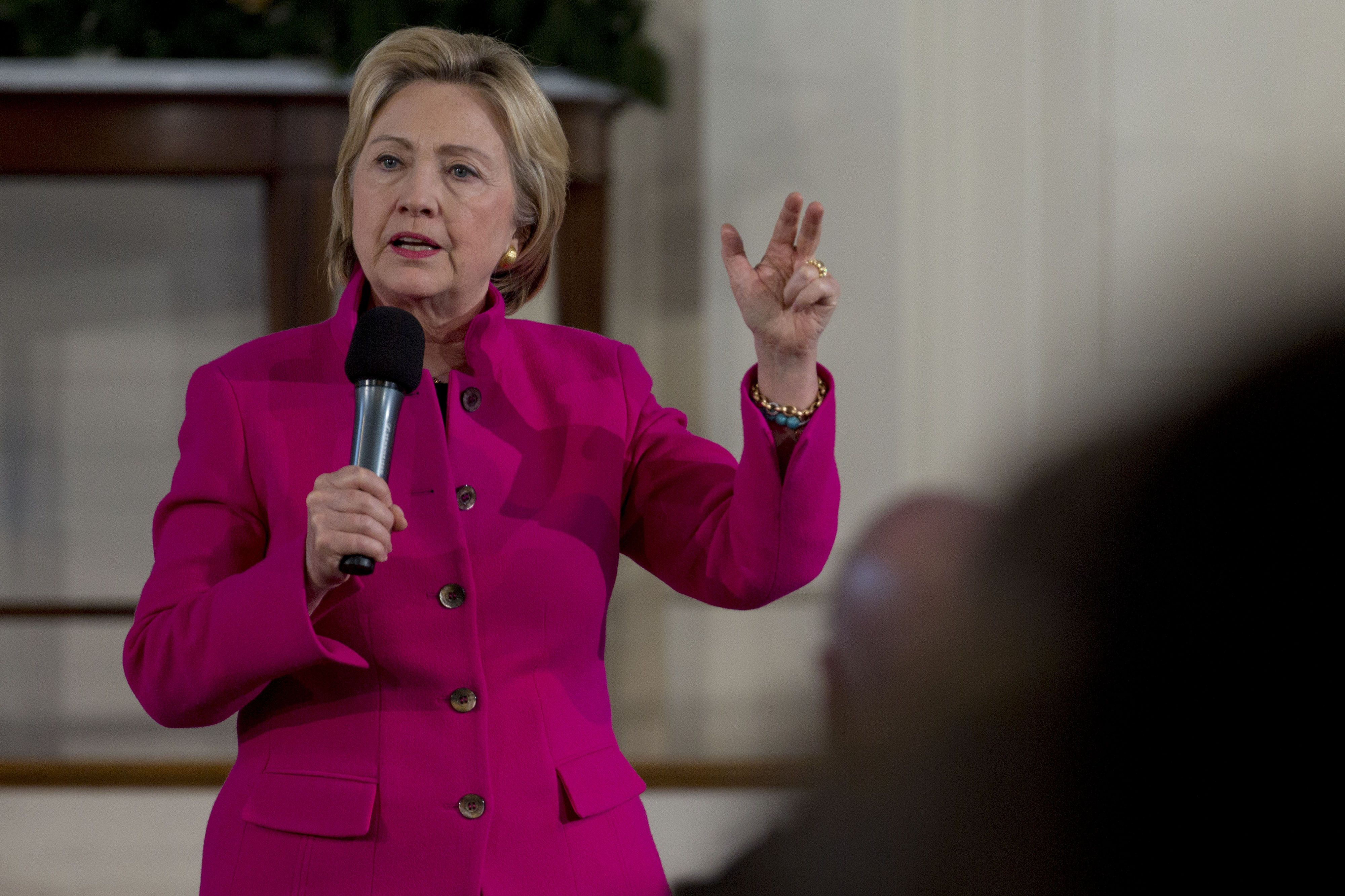 Hillary Clinton, former Secretary of State and 2016 Democratic presidential candidate, speaks during a town hall meeting at South Church in Portsmouth, New Hampshire, U.S., on Tuesday, Dec. 29, 2015. On Monday as Republican presidential candidate front-runner Donald Trump criticized her husband, Clinton vowed to stand up to him. Photographer: Andrew Harrer/Bloomberg via Getty Images
