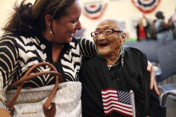 Marisela Chopite hugs her mother-in-law, Juana Hernandez.