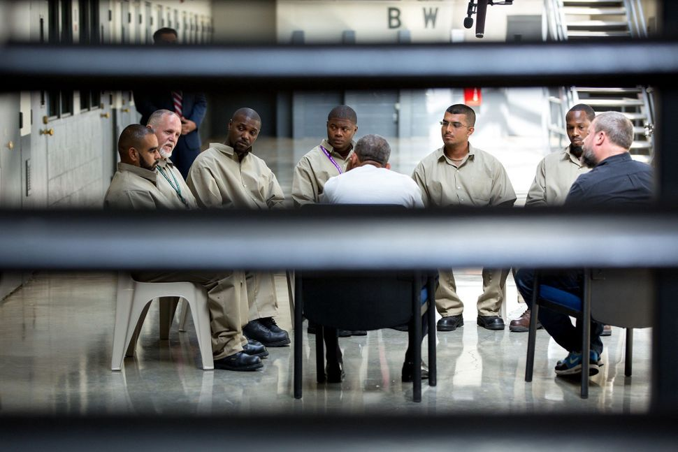 President Barack Obama meets with inmates at El Reno Federal Correctional Institution outside Oklahoma City, Oklahoma, on Jul