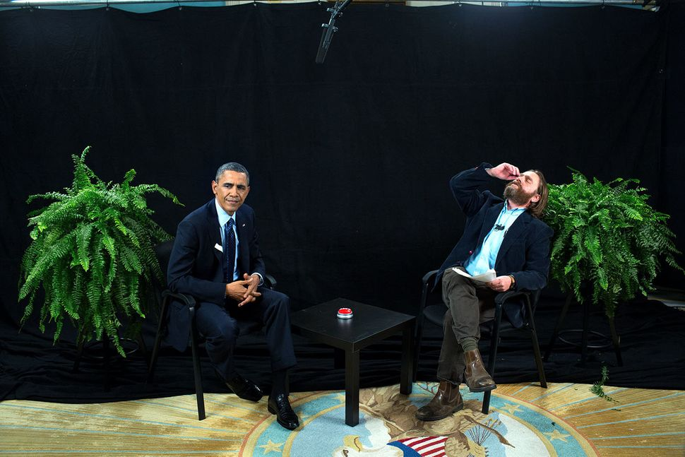 "President Barack Obama participates in an interview with Zach Galifianakis for ""Between Two Ferns with Zach Galifianakis"" in"