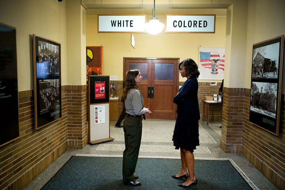 First Lady Michelle Obama tours the Brown v. Board of Education National Historic Site in Topeka, Kan., May 16, 2014. Stephan