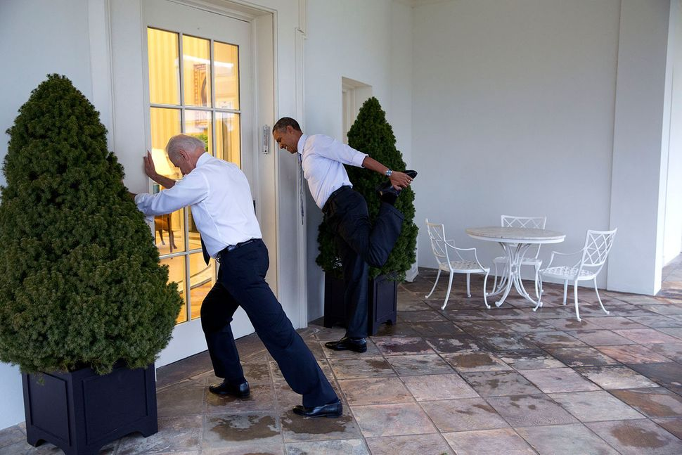 "President Barack Obama and Vice President Joe Biden participate in a ""Let's Move!"" video taping on the Colonnade of the White"