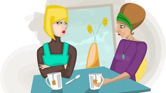 Two women having tea