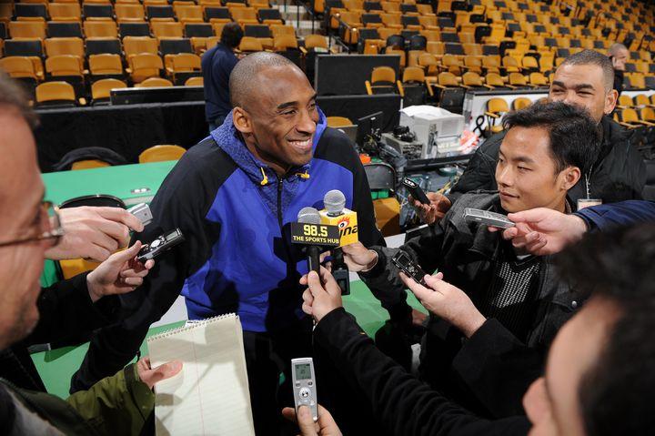 Bryantgets interviewed prior to agame against the Boston Celtics on Feb.10, 2011, in Boston, Massachusetts.