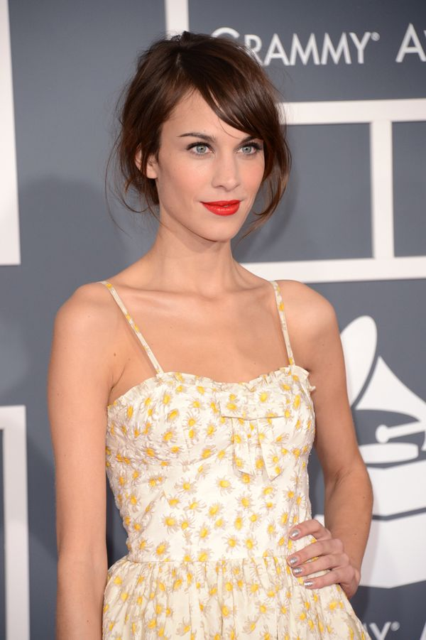 Alexa Chung arrives at the 55th Annual GrammyAwards at Staples Center in Los Angeles, California.